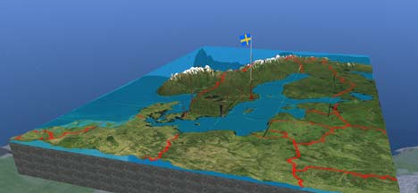 Second Life Map Of Sweden Ogle Earth - Sweden map topographic